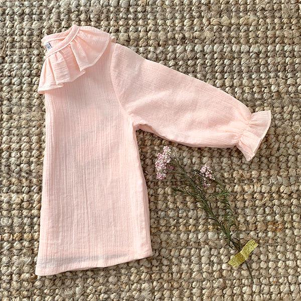 Blusa Bambula manga larga Rosa