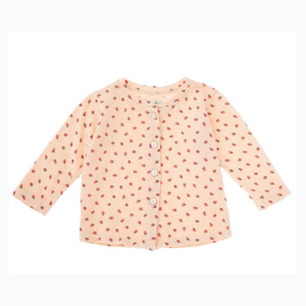 Cárdigan tejido jersey de algodón orgánico Fresas Rosa