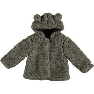 Abrigo de pelo sintético con capucha de orejas y animal forro estampado