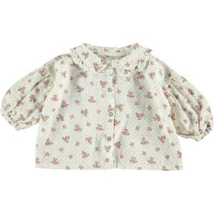 Blusa con estampado de flores con mangas abullonadas