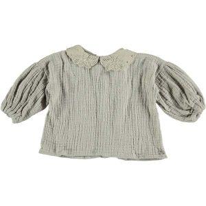 Blusa cuello bobo con mangas abullonadas